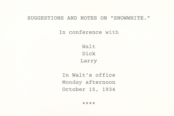 Notes on Snowwhite
