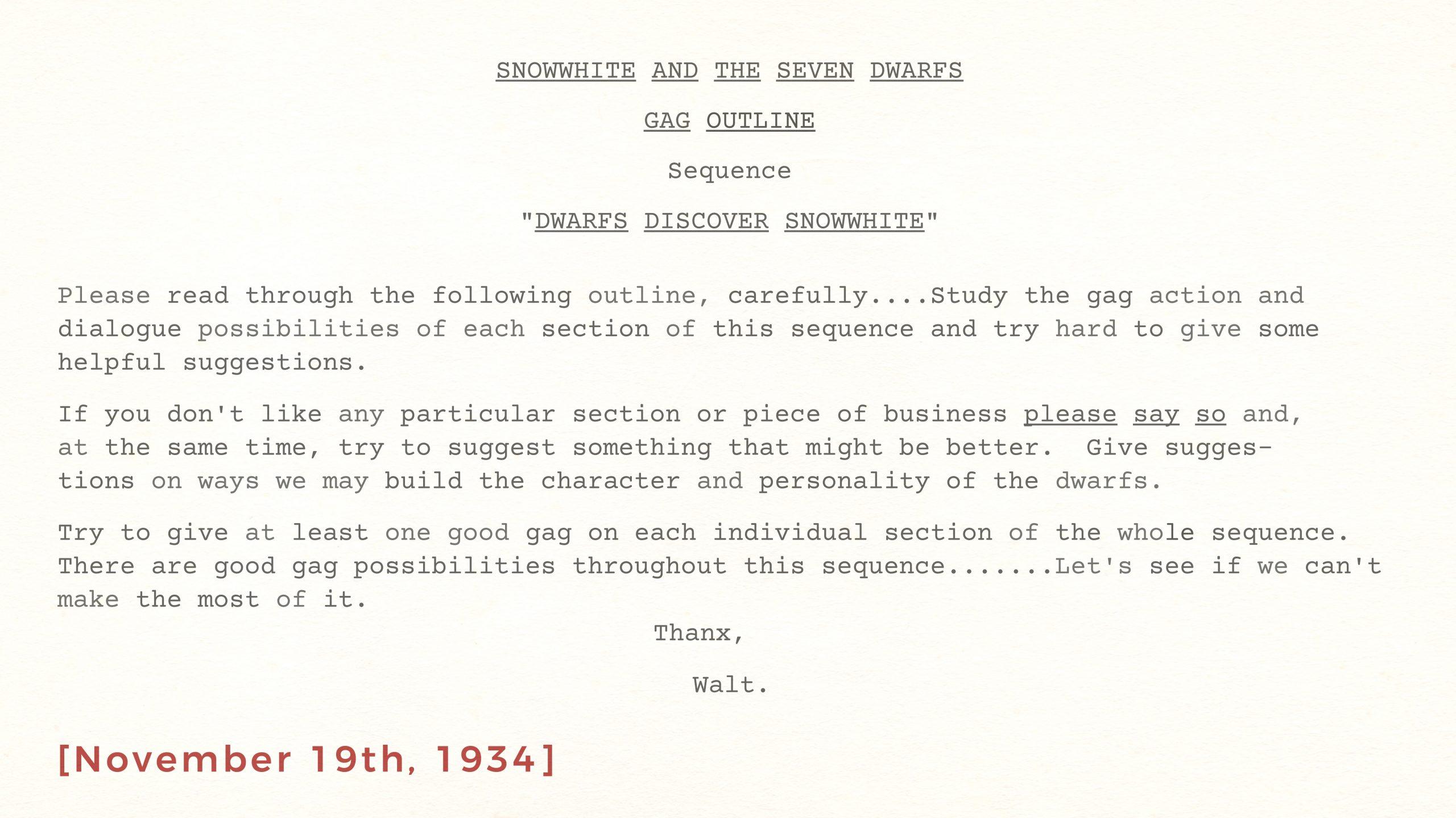 "Snow White and the Seven Dwarfs, GAG OUTLINE, ""Dwarfs Discover Snow White"", November 19th, 1934"