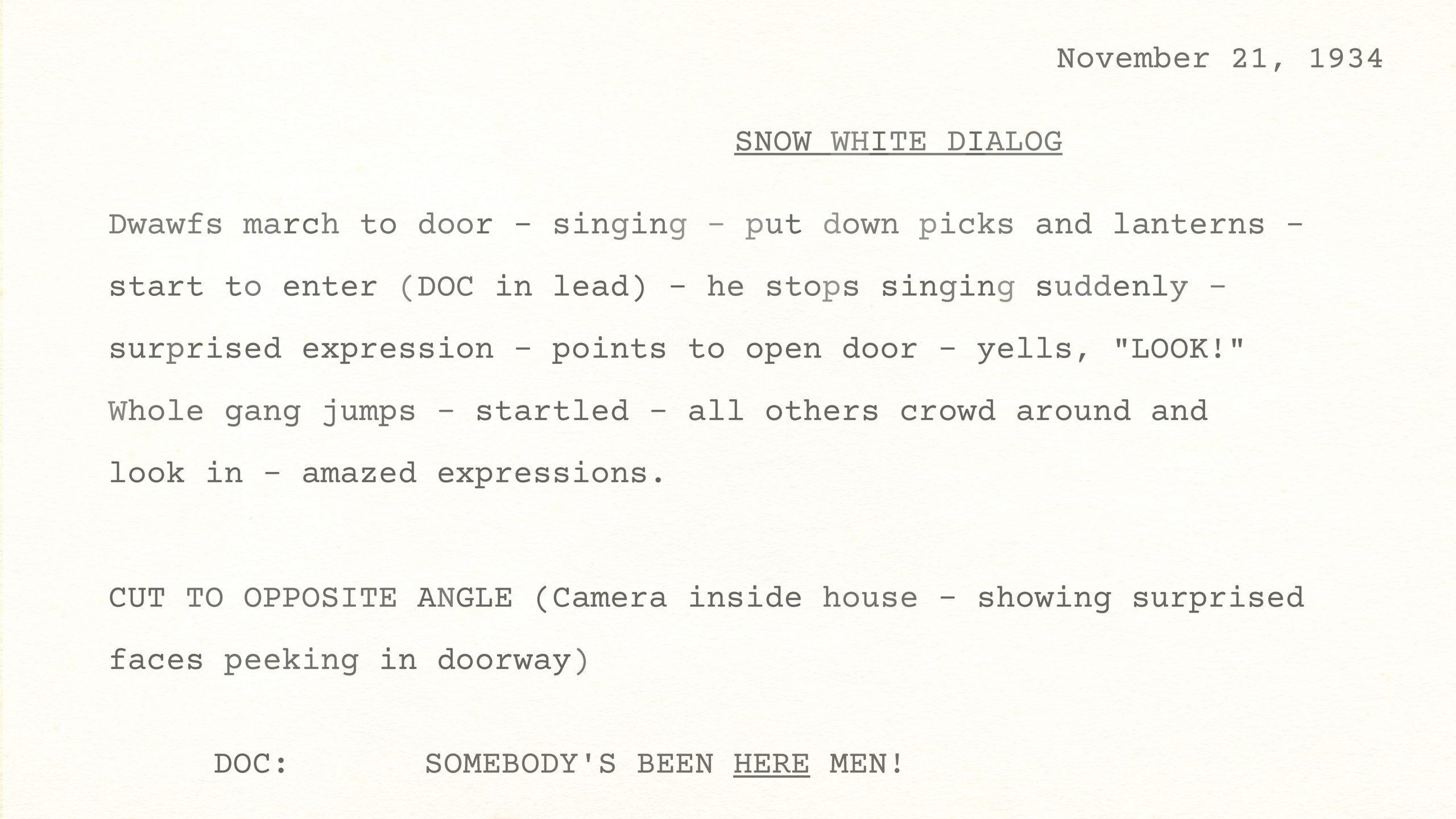 Snow White Dialogue, November 21, 1934