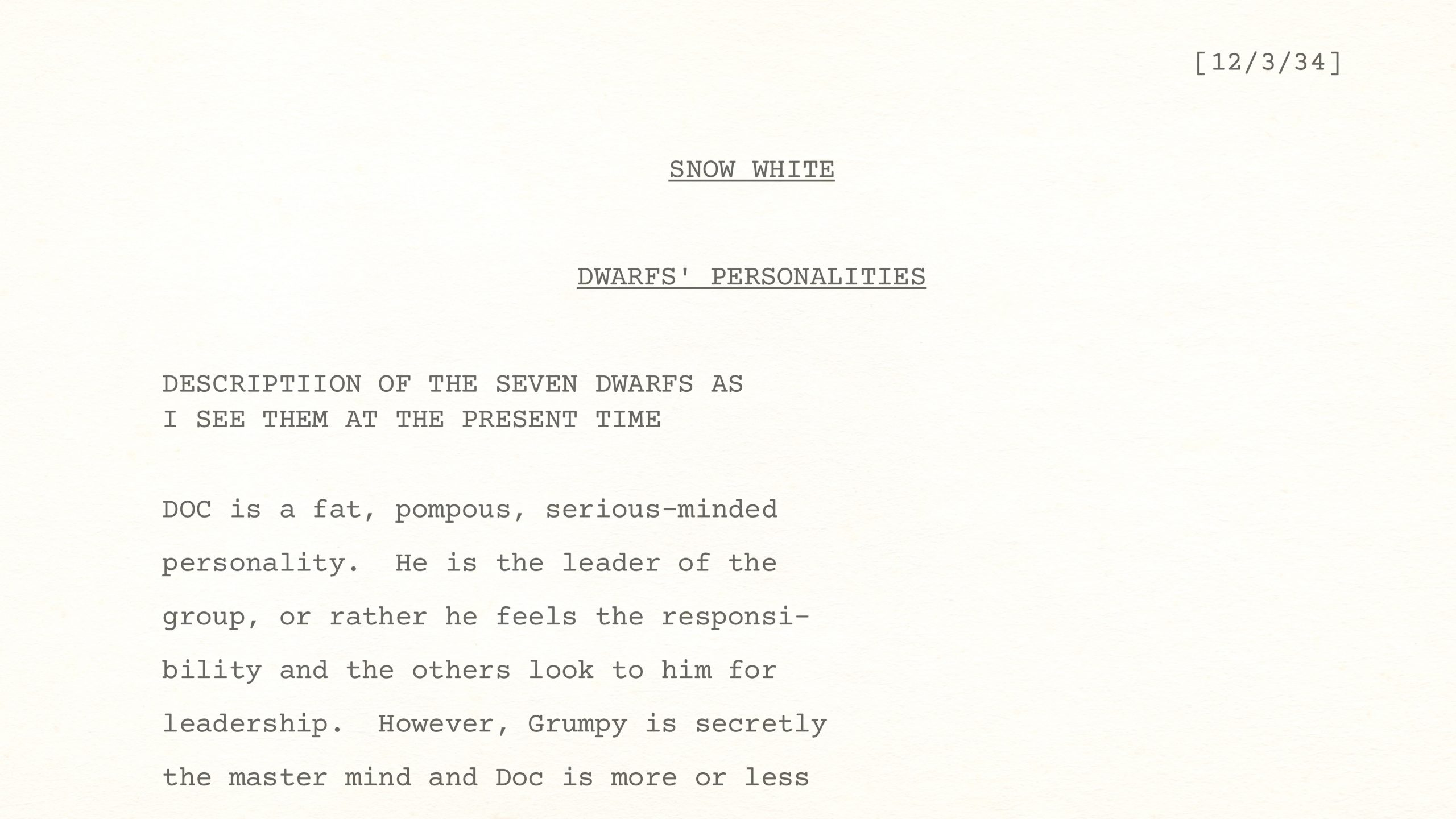 """Dwarfs' Personalities as Walt Sees Them at the """"Present Time,"""" being December 3rd, 1934"""