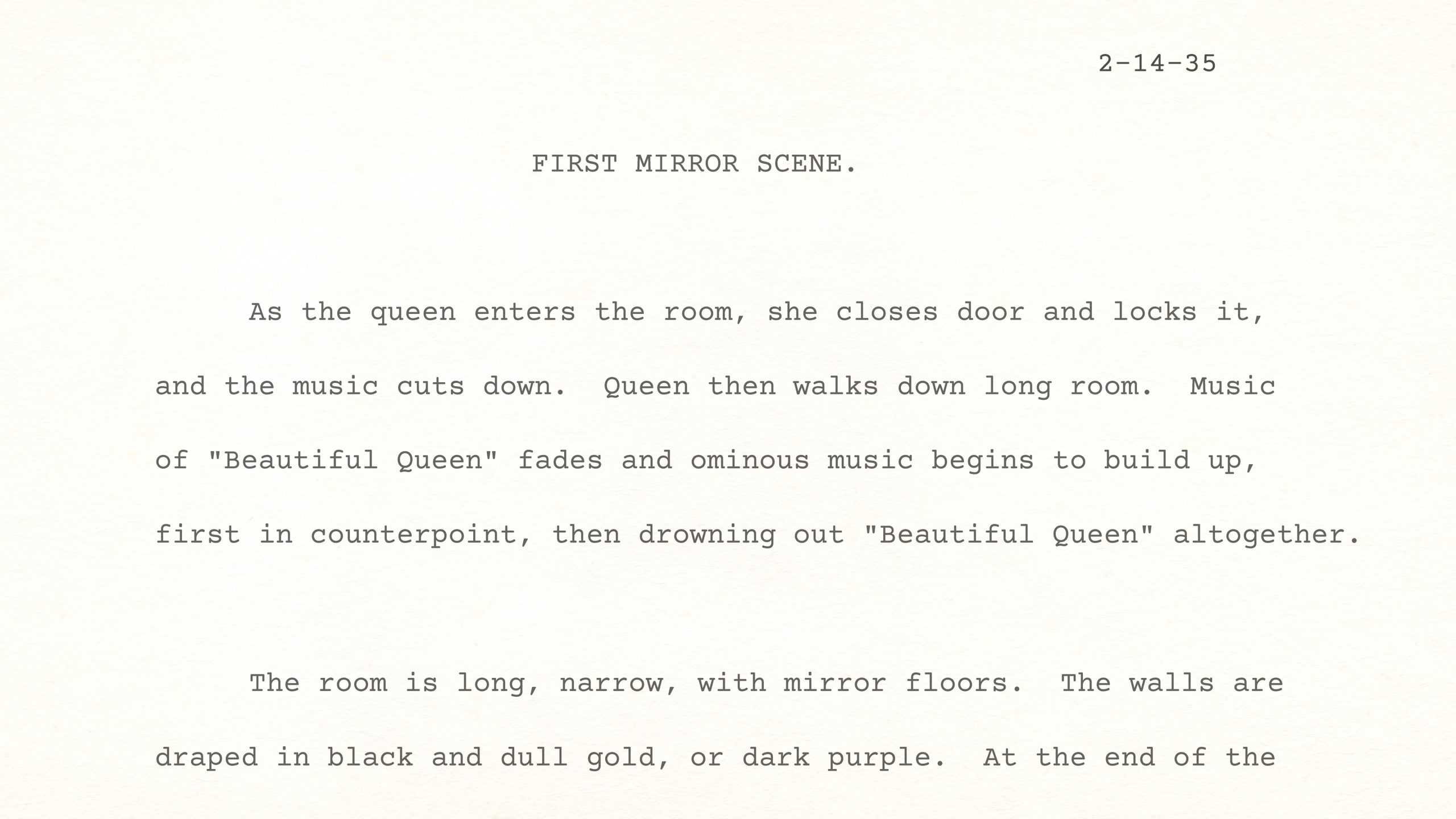 Snow White and the Seven Dwarfs — First Mirror Scene, February 14, 1935