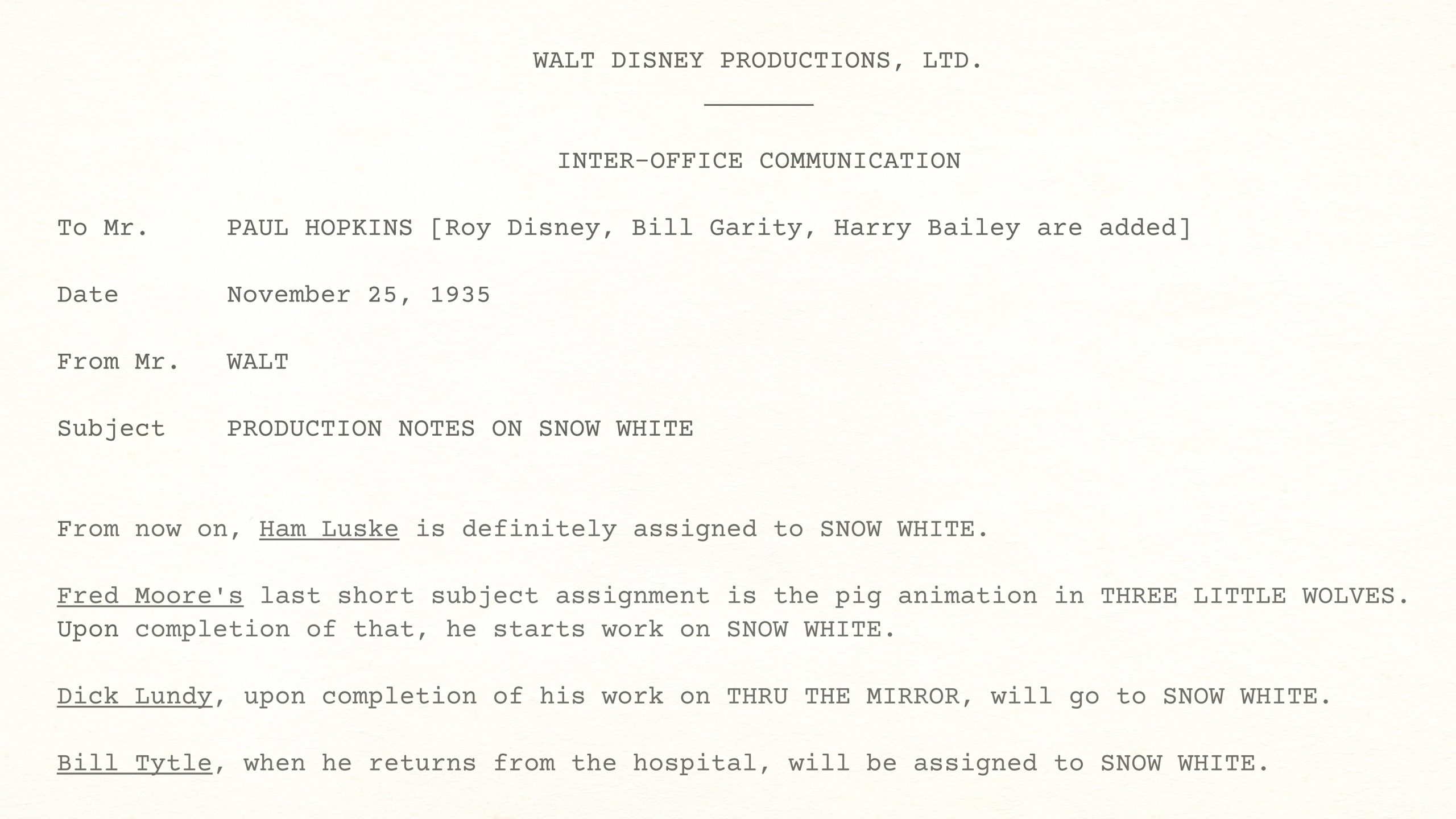 WALT DISNEY PRODUCTIONS, LTD. — INTER-OFFICE COMMUNICATION, November 25, 1935