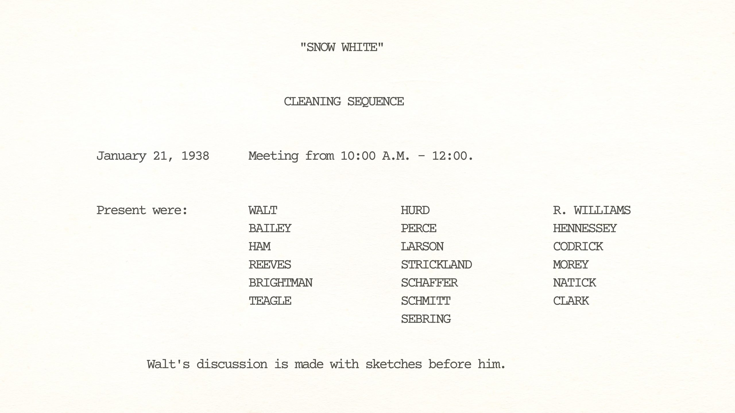 Story Conference on Snow White's CLEANING SEQUENCE, January 21st, 1936