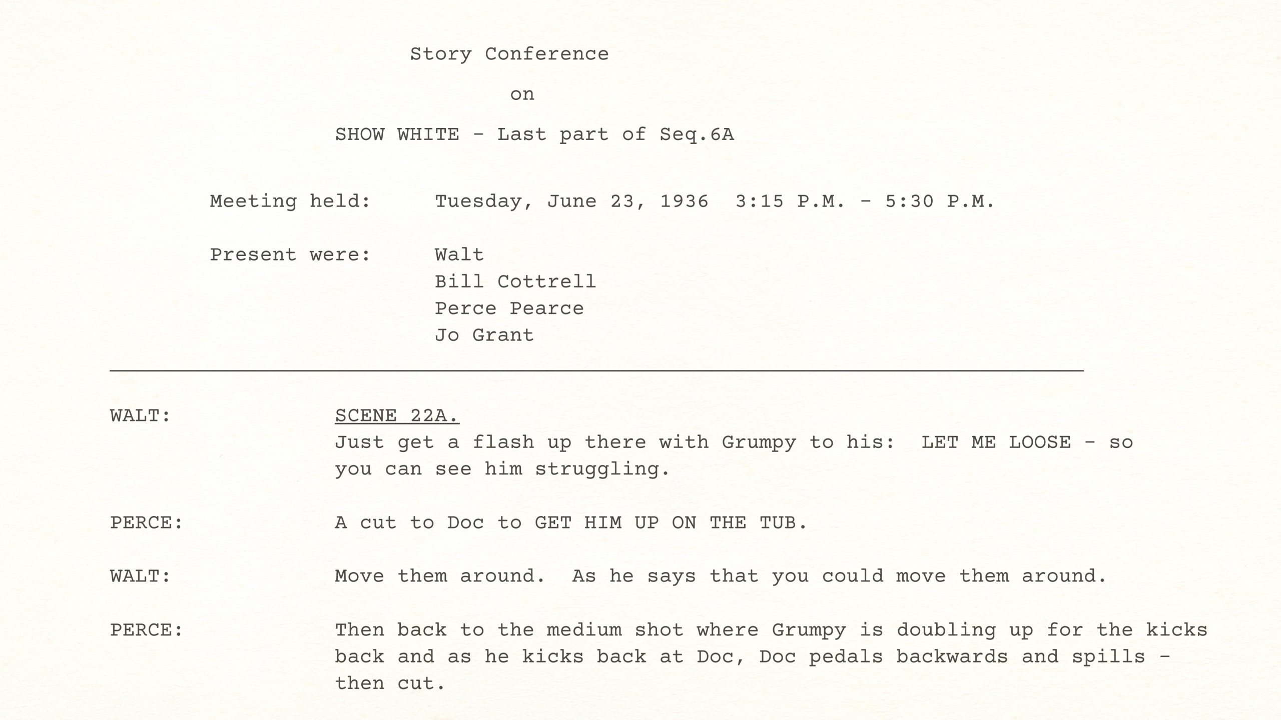Story Conference on Snow White's WASH SEQUENCE, June 23rd, 1936