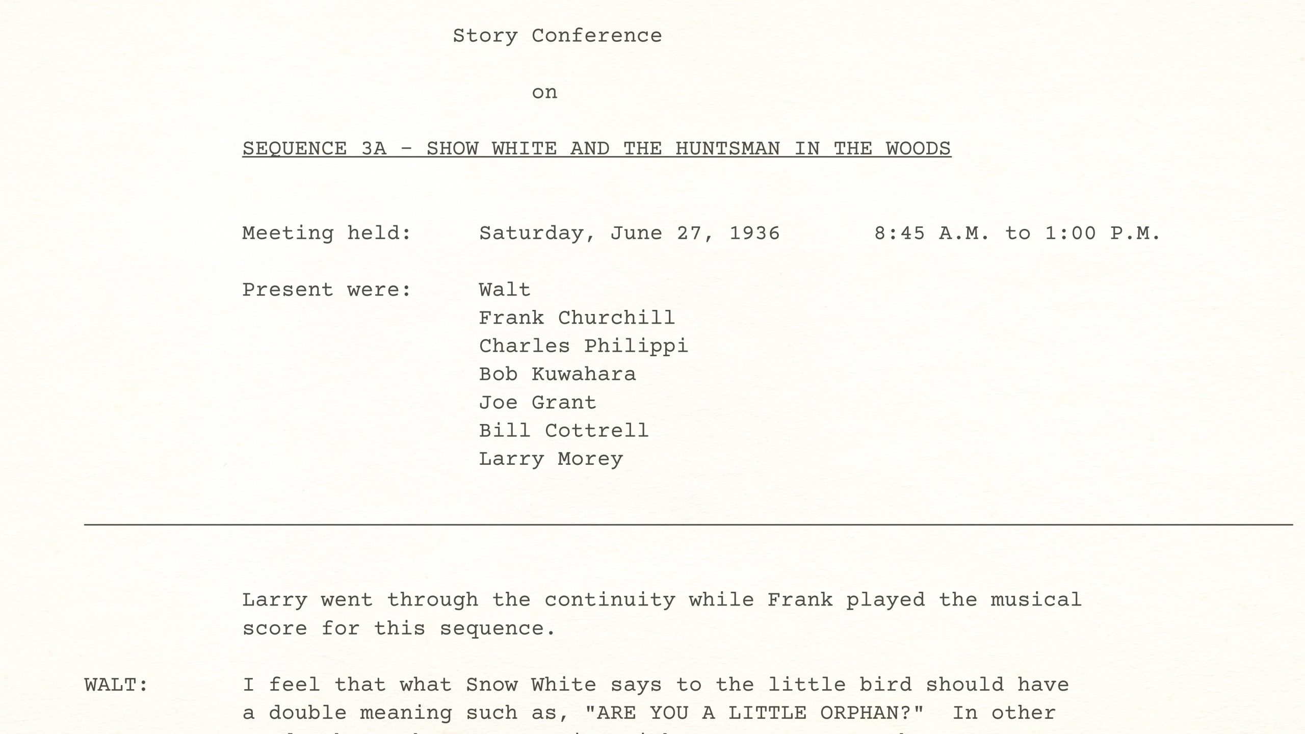 Walt Disney Story Conference on Snow White's HUNTSMAN KNIFE SEQUENCE, June 27th, 1936