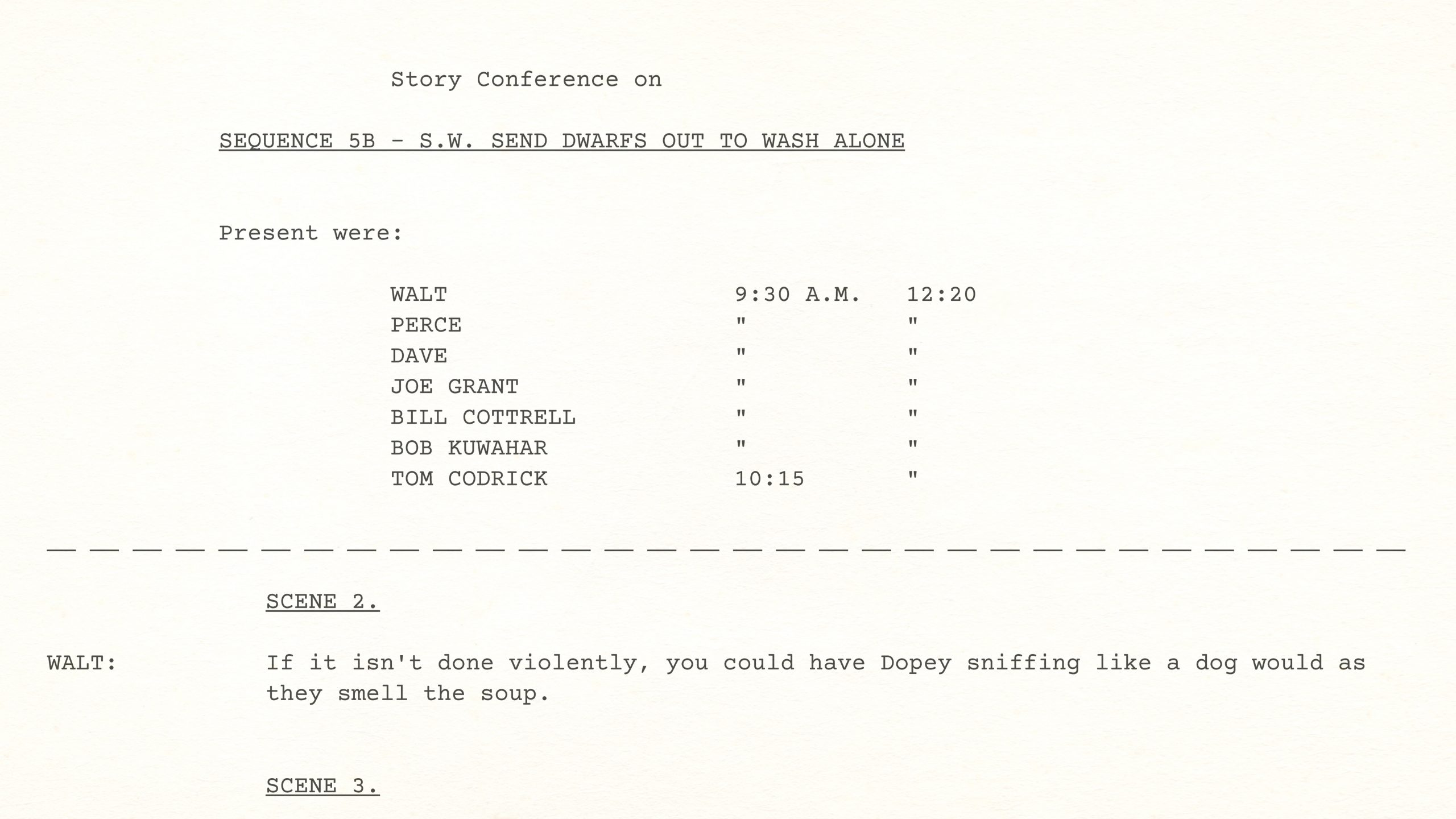 Walt Disney Story Conference on Snow White's SEND DWARFS OUT TO WASH ALONE (SEQUENCE 5B), August 8, 1936