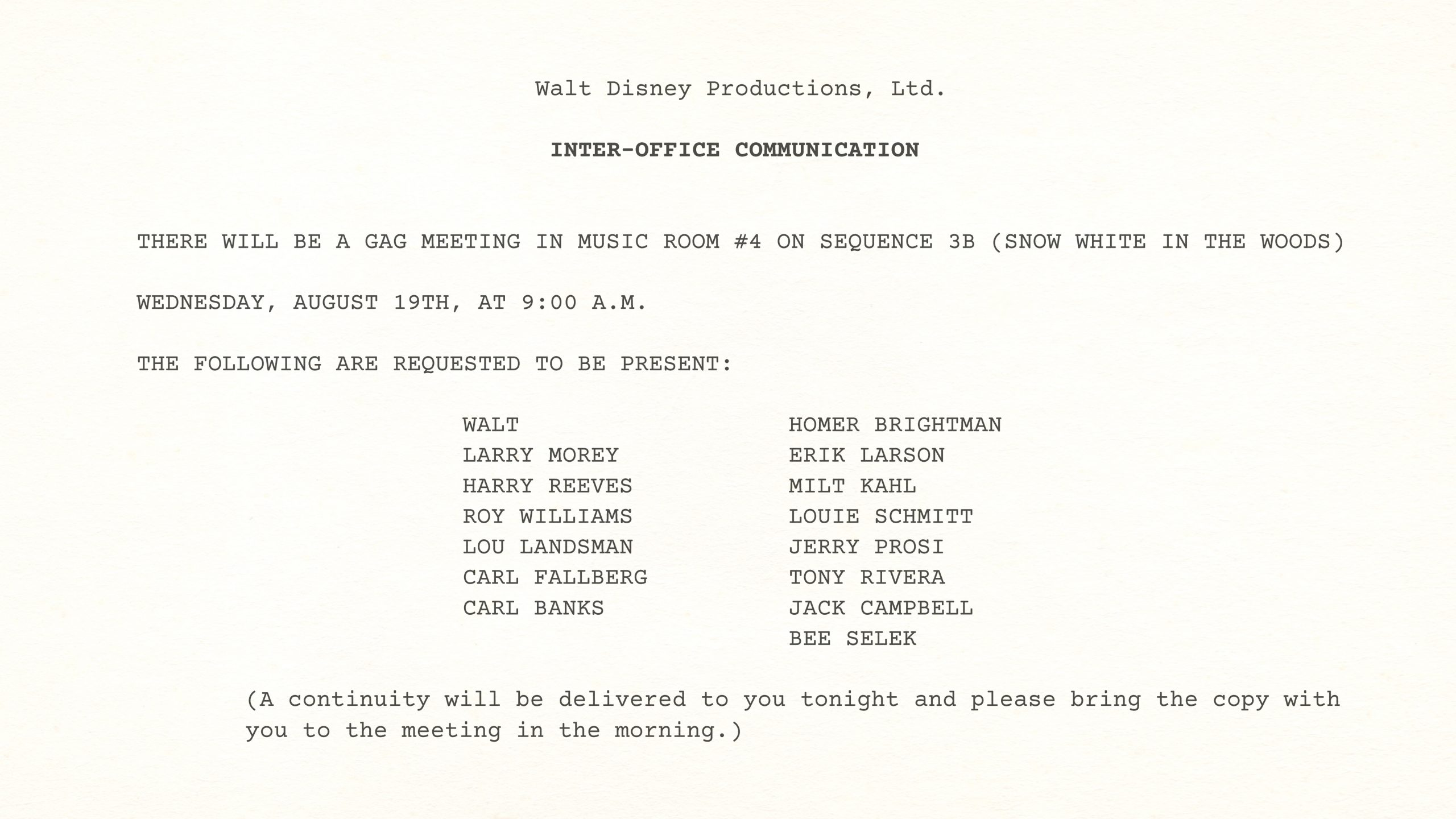 Walt Disney – Snow White GAG MEETING SUPPLEMENT TO CONTINUITY – SEQUENCE 3-B (Snow White Alone in the Woods), August 19, 1936