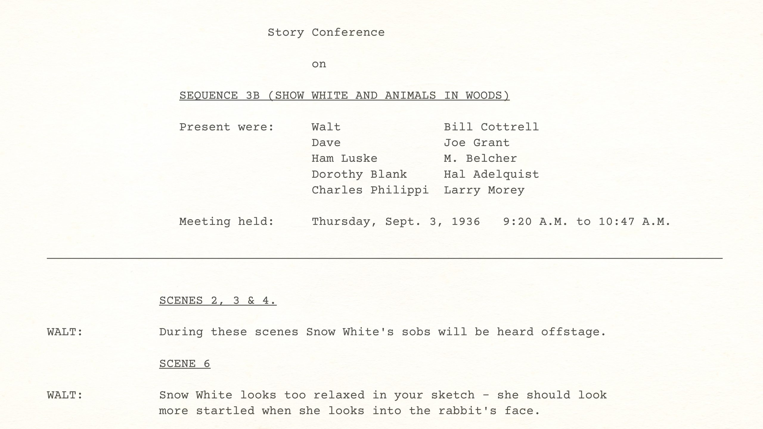 Walt Disney – Snow White STORY CONFERENCE – SEQUENCE 3-B (SHOW WHITE AND ANIMALS IN WOODS), September 3, 1936