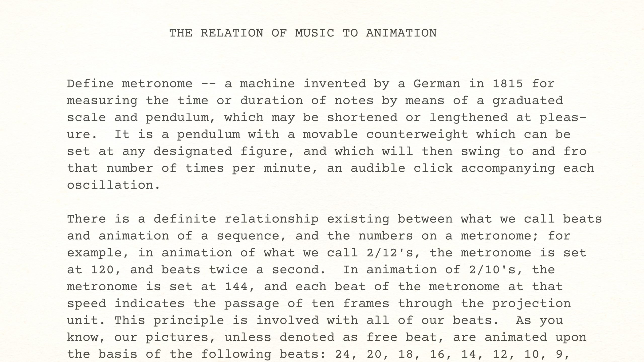 Walt Disney Studios Lecture — THE RELATION OF MUSIC TO ANIMATION by Albert Malotte, estimated late 1936 to early 1937